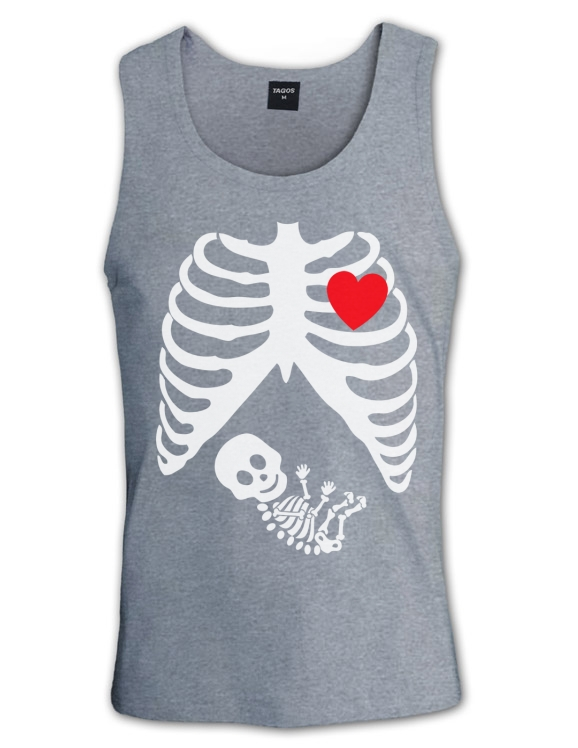Pregnant Skeleton Singlet Baby Funny Gothic Maternity Halloween Girl x Ray Boy