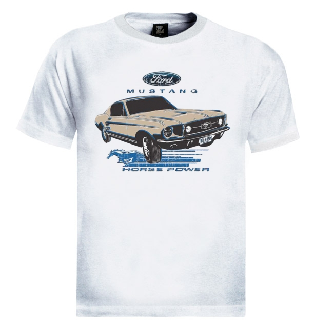 Ford mustang t shirt 1967 classic car horse power ride for Vintage mustang t shirt