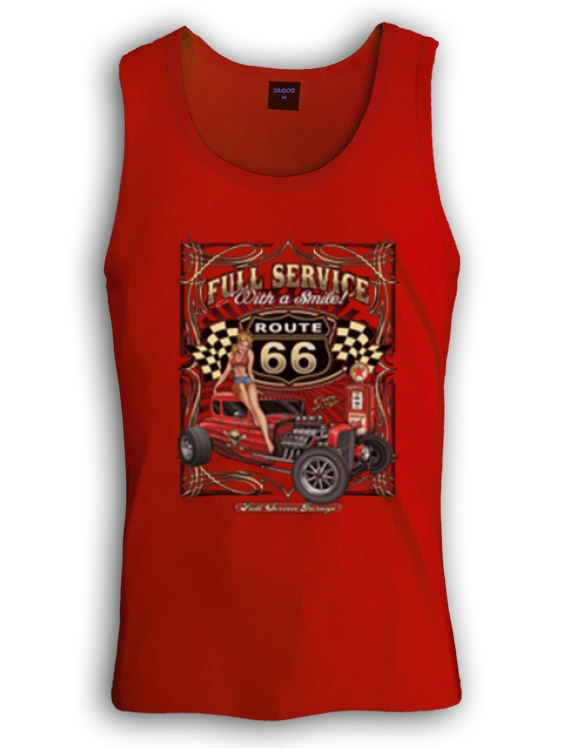 full service rt 66 hd singlet route 66 pin up girl. Black Bedroom Furniture Sets. Home Design Ideas