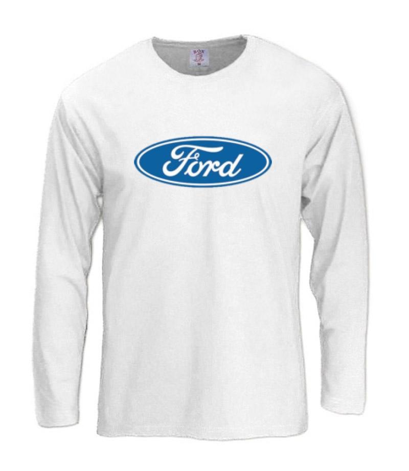 Ford long sleeve t shirt car maker licensed sign logo ebay for Logo t shirt maker