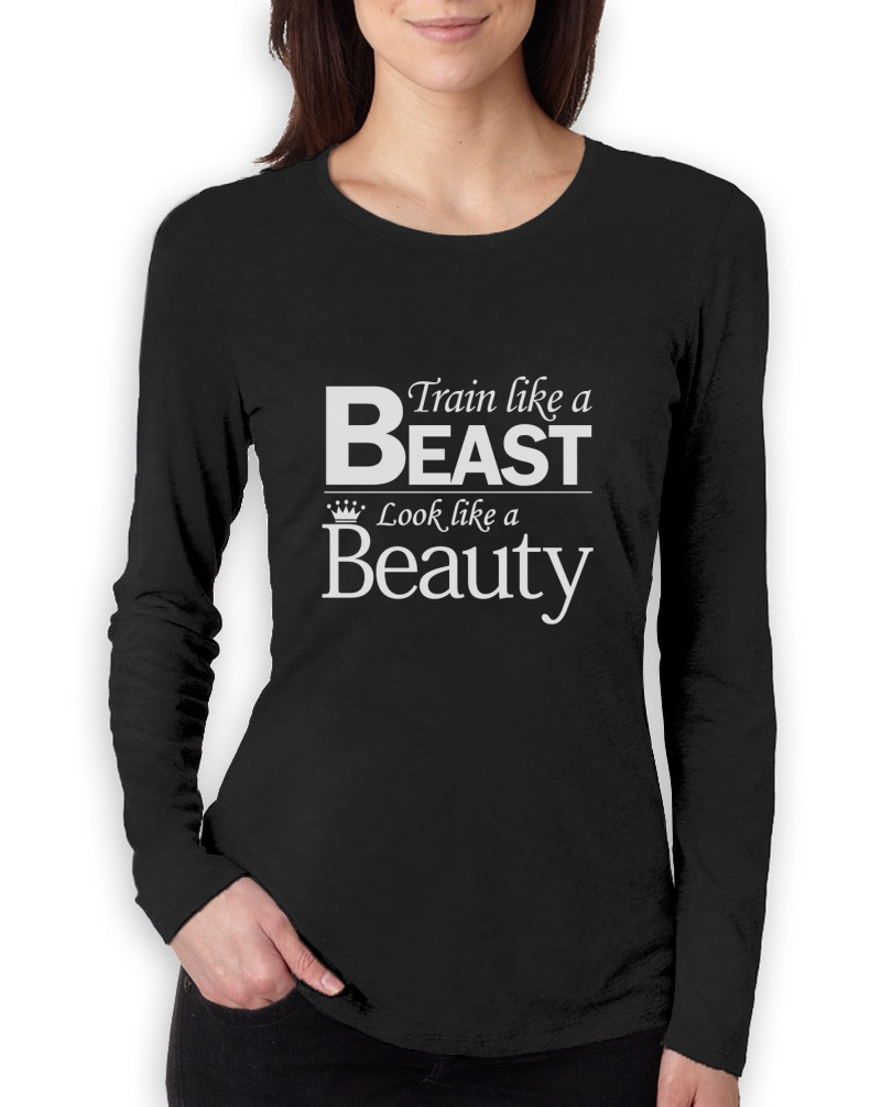 Train like a beast look beauty women long sleeve t shirt for Best work out shirts