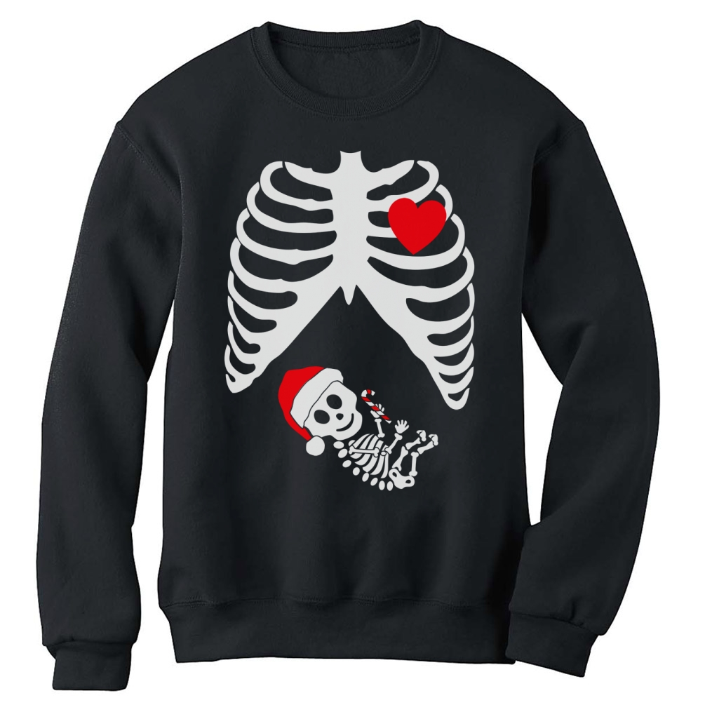 Christmas Pregnant Skeleton Xray Sweatshirt announcement Gift Baby – Baby Announcement T Shirt