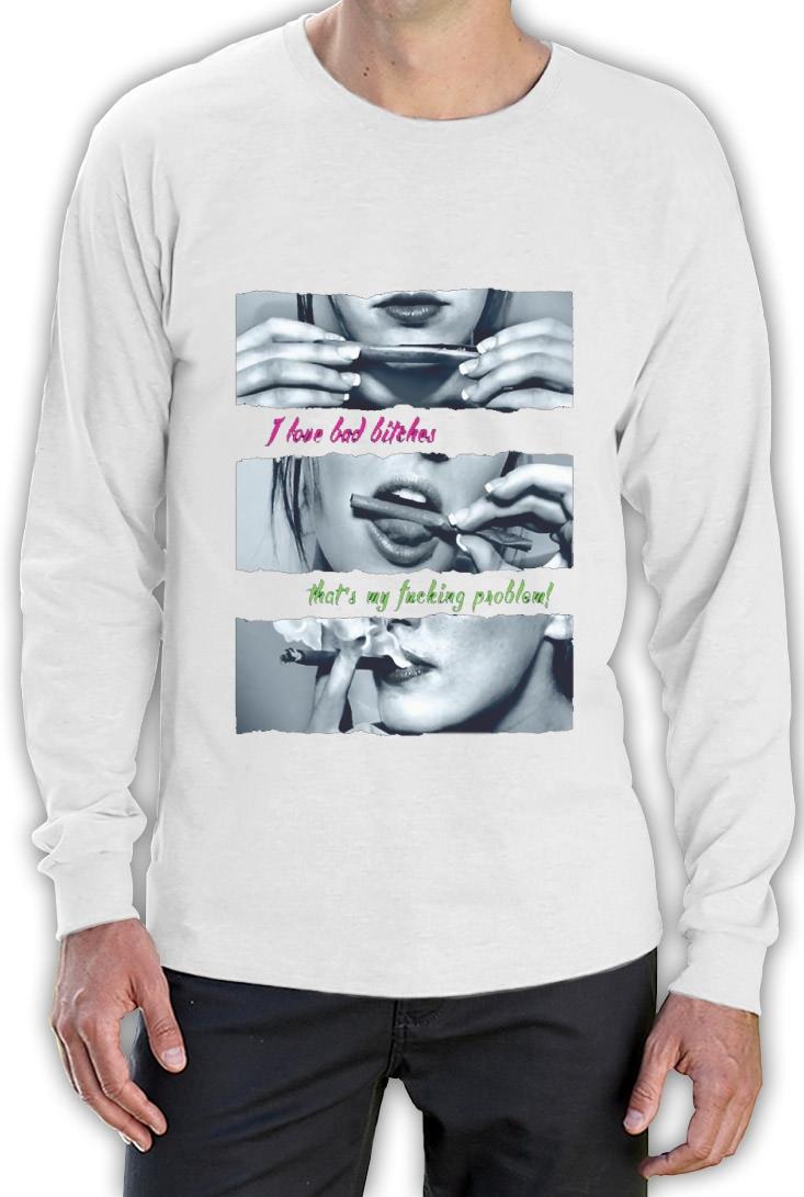 Roll Blunt Girl Long Sleeve T Shirt Drug Designer Fashion