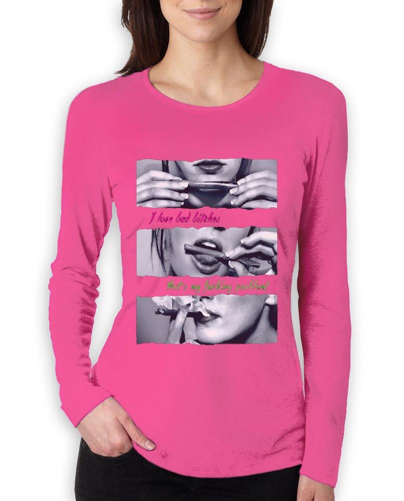 Roll Blunt Girl Women Long Sleeve T Shirt Drug Designer