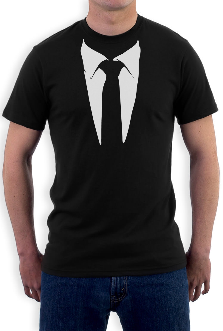 """If you're going to attempt the t-shirt with a suit look, always go with a v-neck. This look is all about being casual and a crew neck t-shirt will appear a little too """"buttoned up."""" Give your v-neck a gentle tug to loosen it up a little more for an edgier feel."""