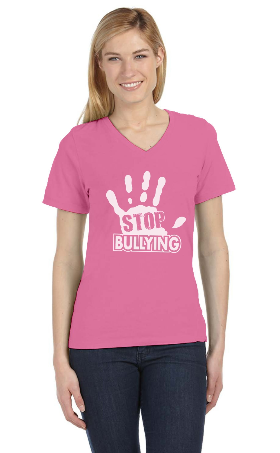 Stop Bullying Pink Shirt Day Anti-Bullying V-Neck Women T-Shirt ...