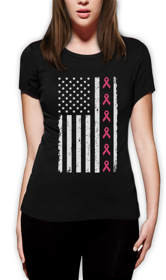Breast Cancer Awareness Ribbons Big American Flag Women T