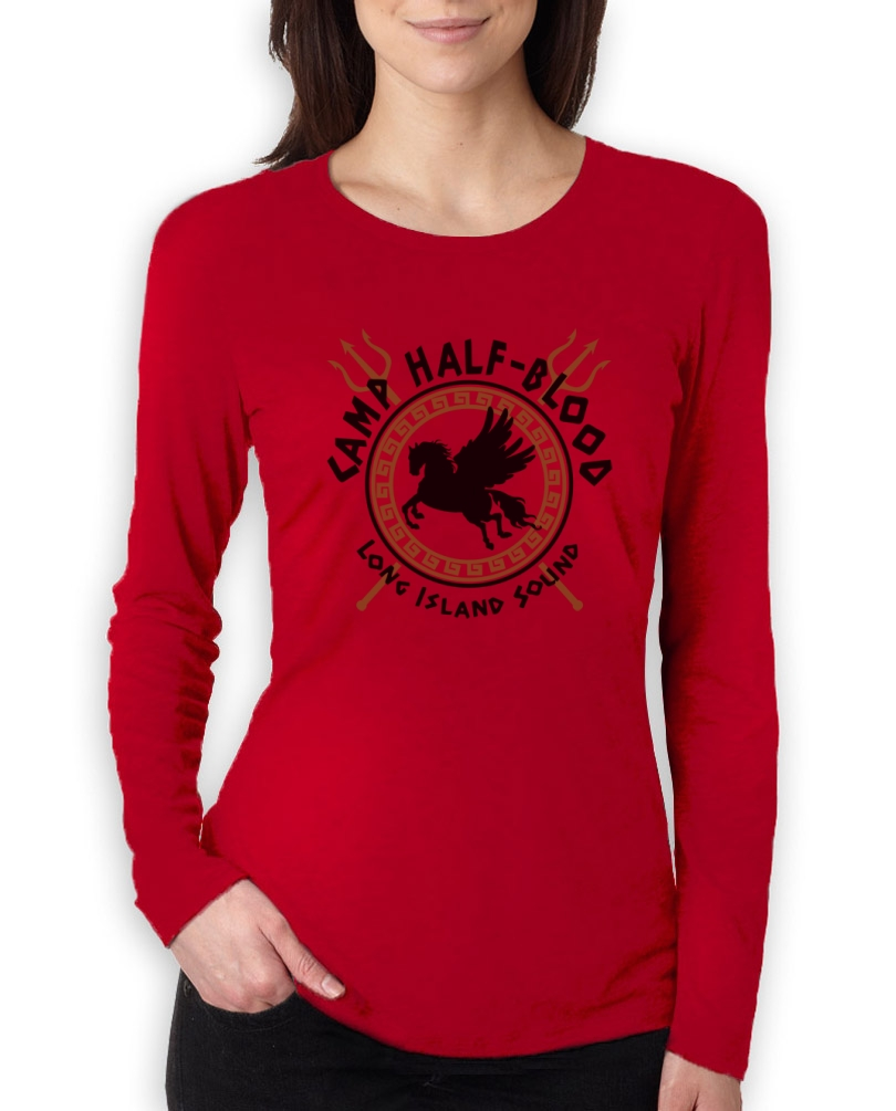 Camp half blood gods women long sleeve t shirt pegasus for Women s long sleeve camp shirts