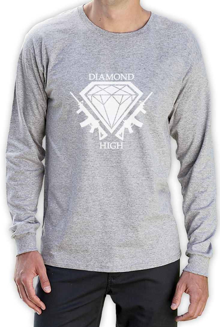 Diamond Life White Long Sleeve T-Shirt SKATE HIP HOP TUMBLR HIGH ...