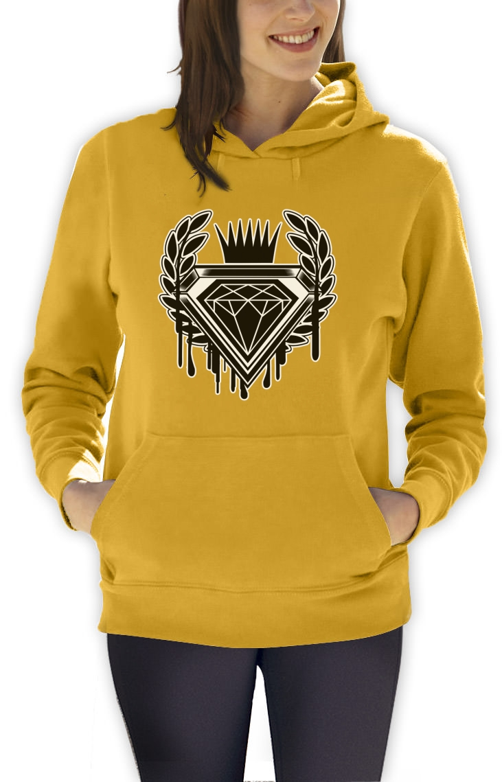 dripping diamond cartoon logo women hoodie graphic skate