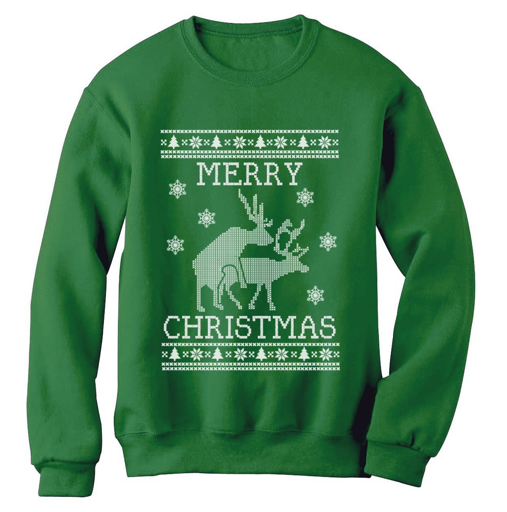 Reindeer Humping ugly christmas sweater Sweatshirt Merry Xmas ...