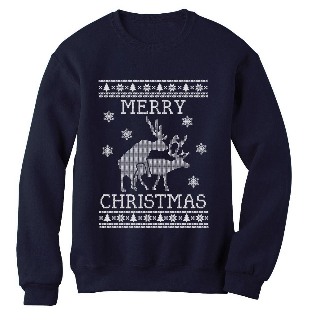 Reindeer Humping ugly christmas sweater Sweatshirt Merry Xmas ...