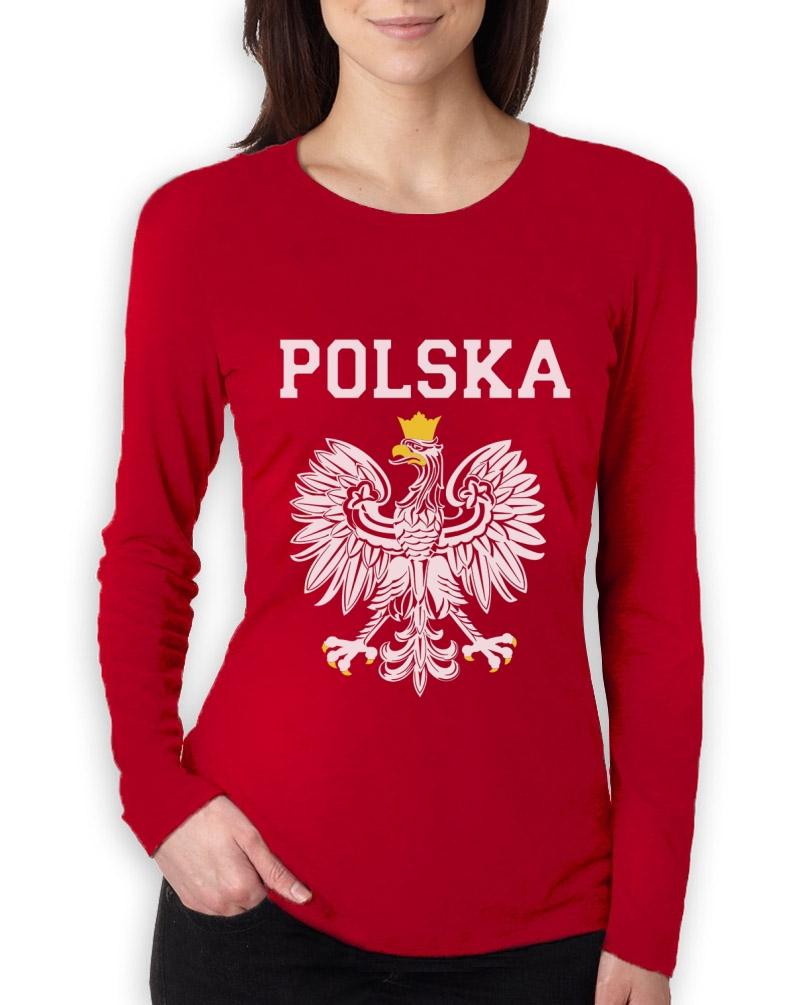 Polska est white eagle crest women long sleeve t shirt for Polish t shirts online