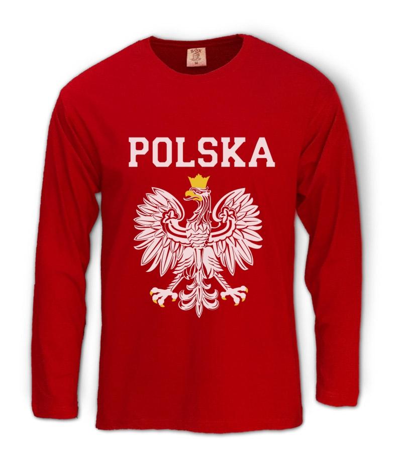Polska est white eagle crest long sleeve t shirt poland for Polish t shirts online