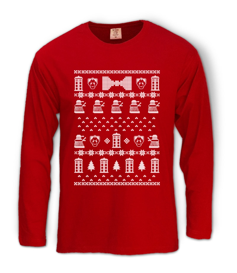 doctor christmas sweater Long Sleeve T-Shirt Who POLICE BOX ...