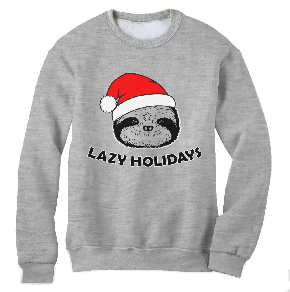 Lazy Holidays Sloth Christmas Sweatshirt XMAS Party UGLY ... Ugly Christmas Sweater Party Funny