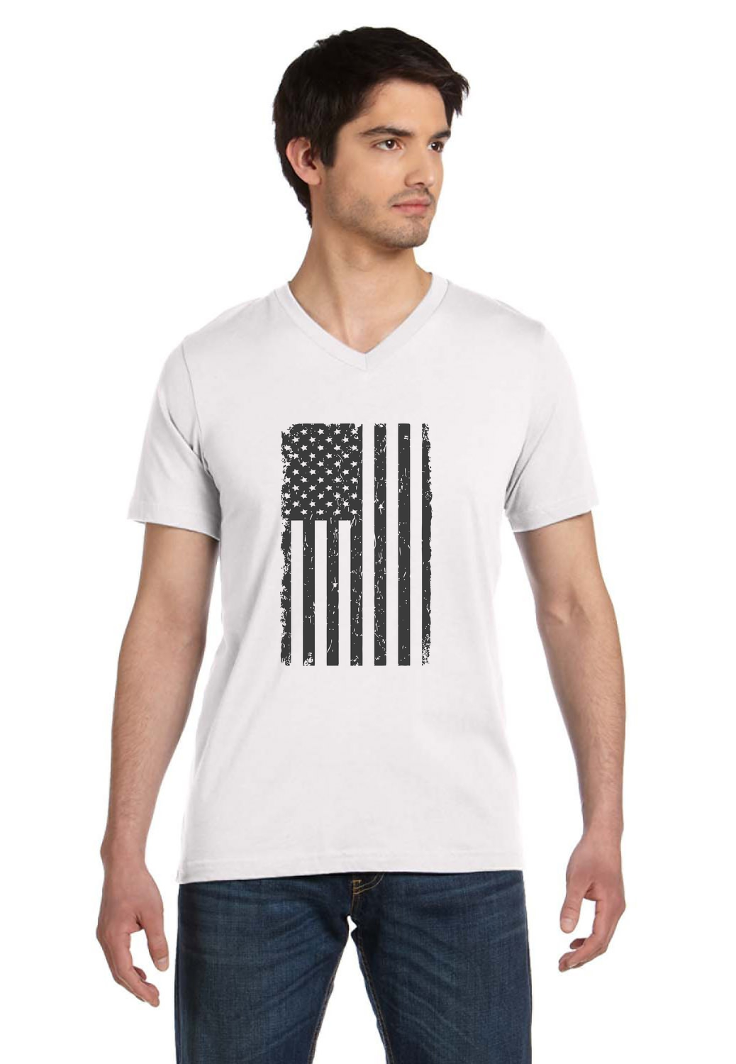 Big black american flag vintage distressed usa flag v for Large v neck t shirts