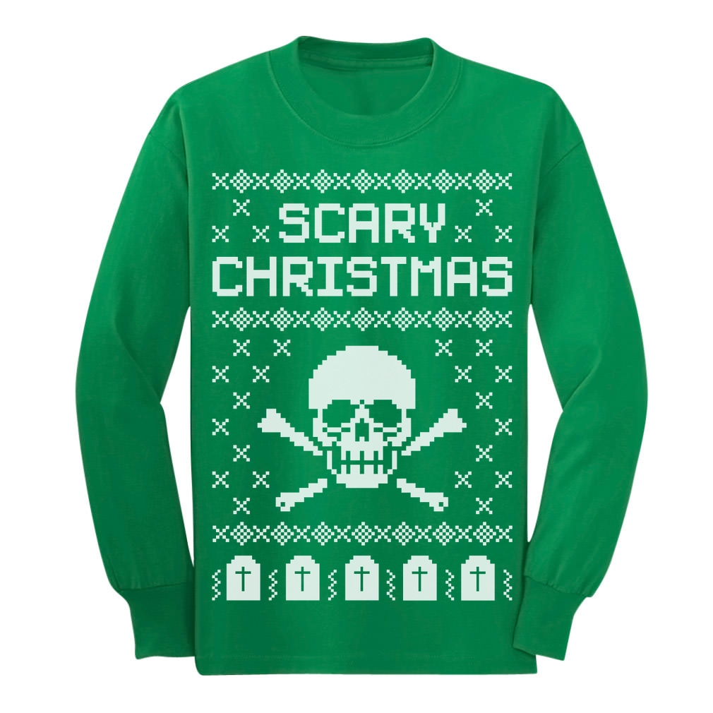 Ugly Christmas Sweater - Skull Scary Christmas Cool Long sleeve ...
