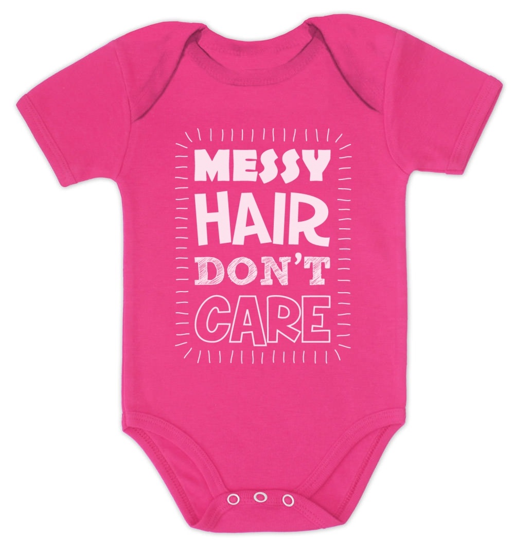 Messy Hair Don T Care 16 Messy Bridal Hairstyles That: Messy Hair Don't Care Baby Bodysuit Cute Funny Baby Shower