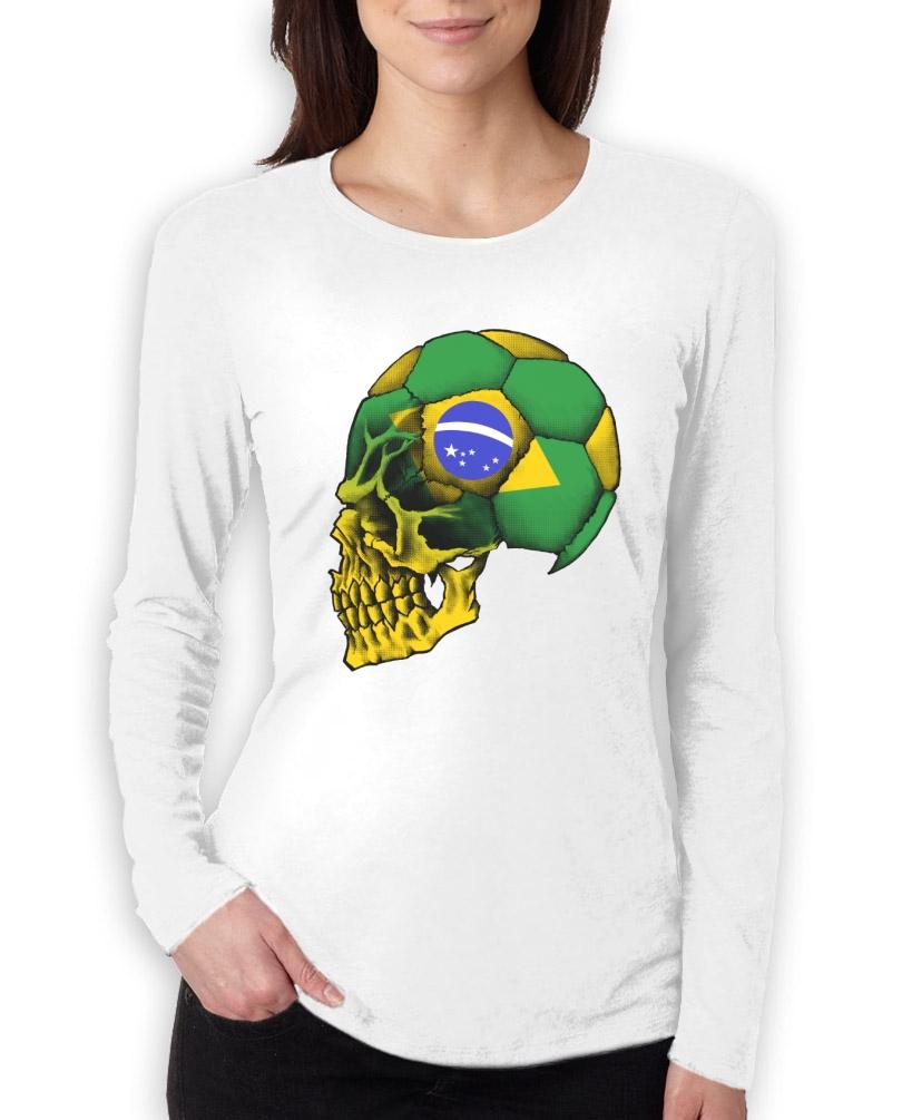 Brazil copa america skull women long sleeve t shirt for Womens brazil t shirt