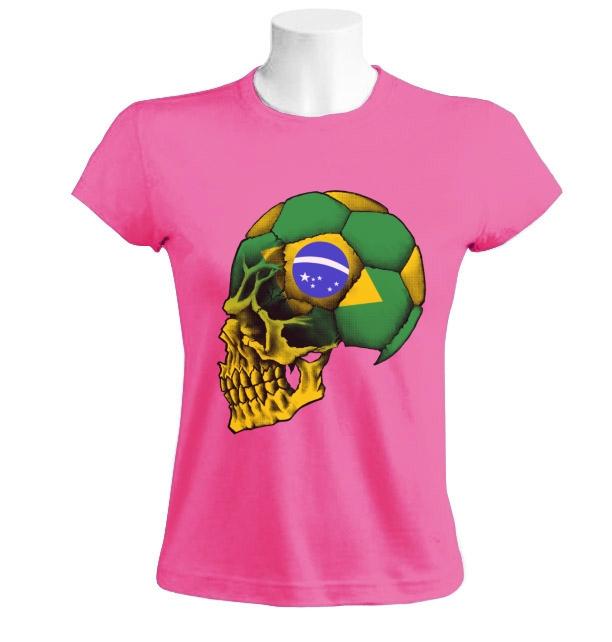 Brazil flag copa america skull women t shirt soccer for Womens brazil t shirt