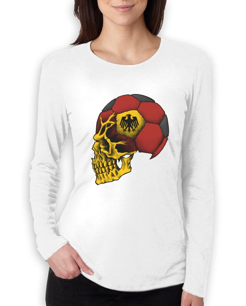 Germany world cup skull women long sleeve t shirt for Spain t shirt football
