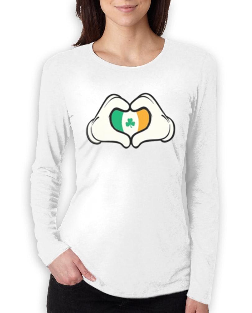 Cartoon mickey hands heart irish women long sleeve t shirt for Full hand t shirts for womens