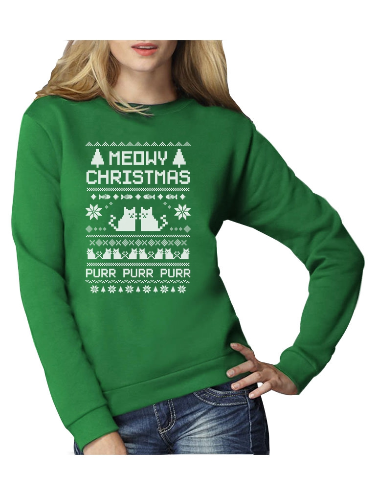 Meowy Christmas Ugly Sweater Women Sweatshirt Funny Cat Lovers Holiday Gift