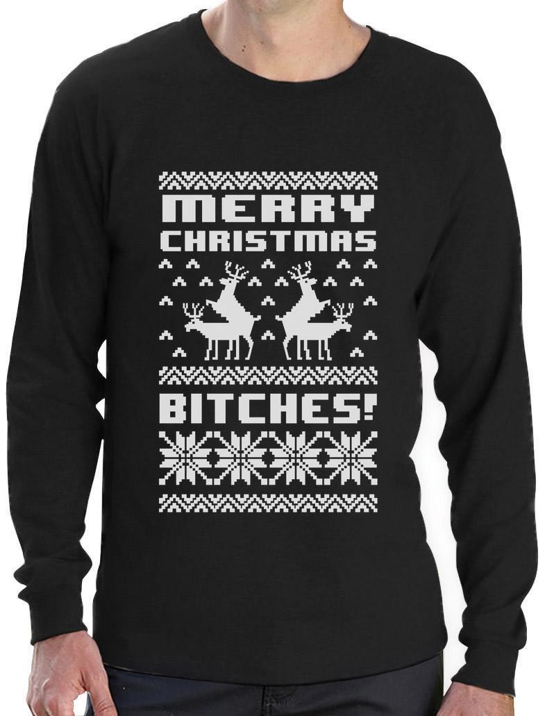 Black xmas t shirt - Merry Christmas Bitches Long Sleeve T Shirt Ugly