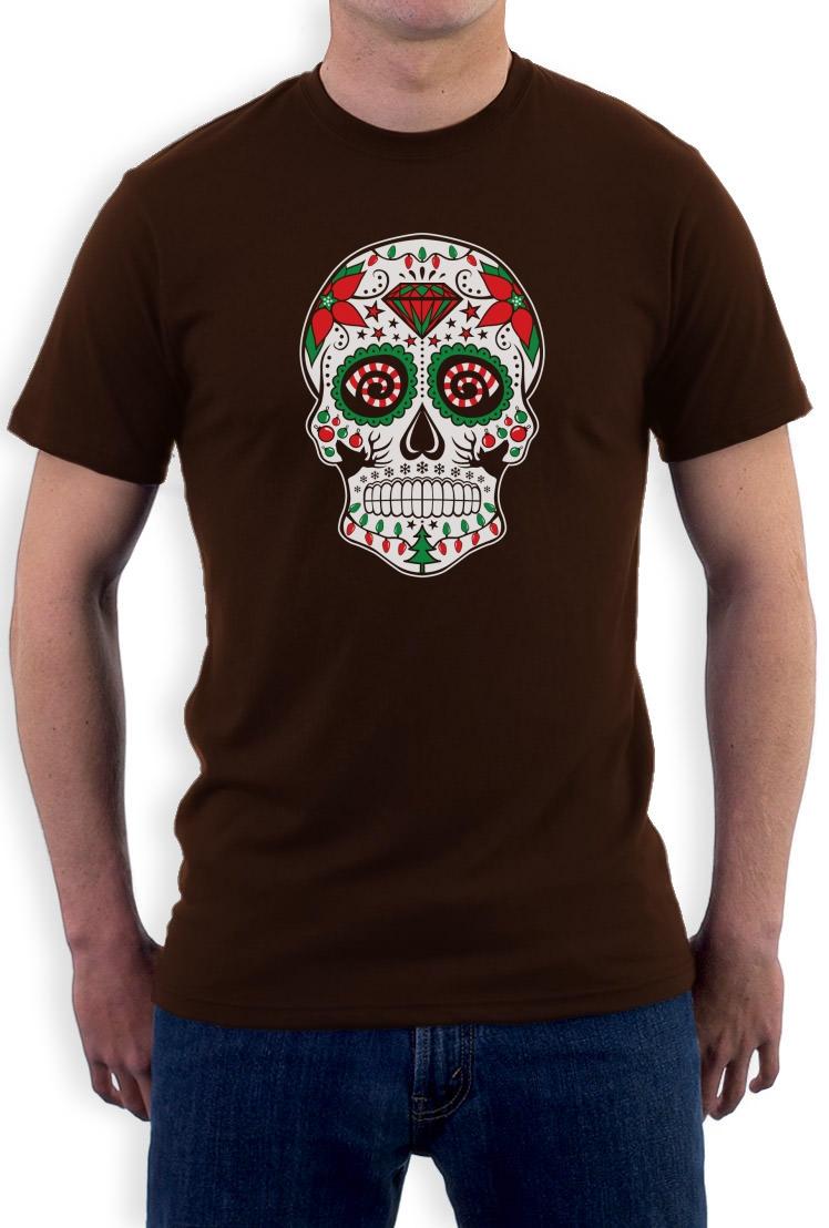 christmas sugar skull t shirt xmas diamond tattoo skeletons dead