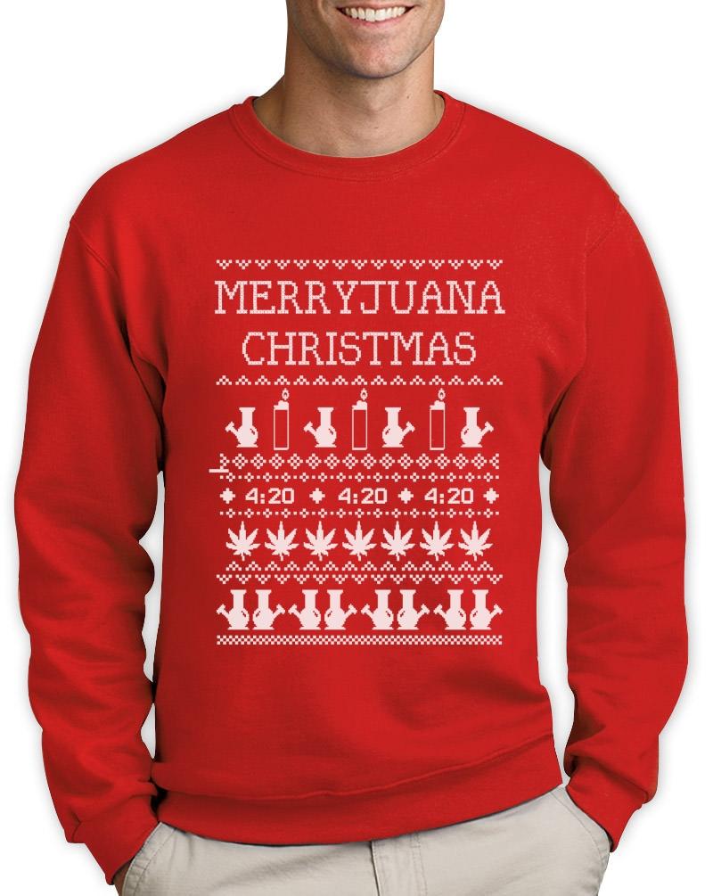 Merryjuana Xmas Sweatshirt Ugly Christmas Sweater Weed Stoner Dope ...