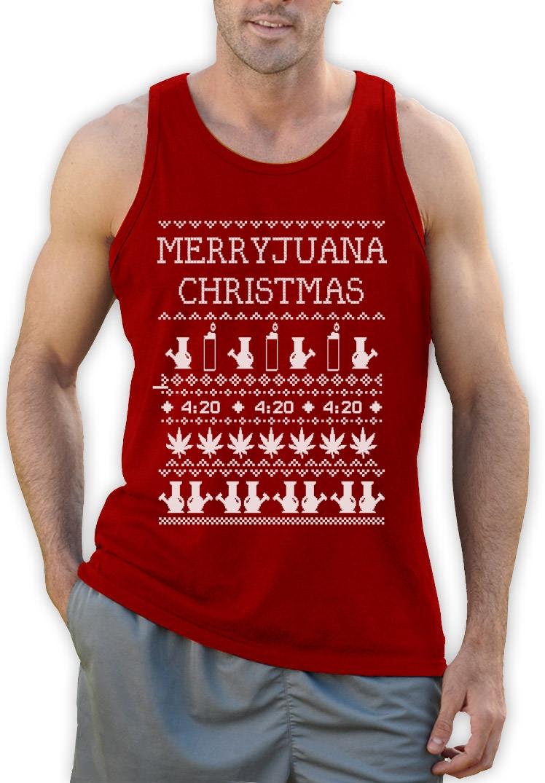 Merryjuana Xmas Singlet Ugly Christmas Sweater Weed Stoner Smoke ...
