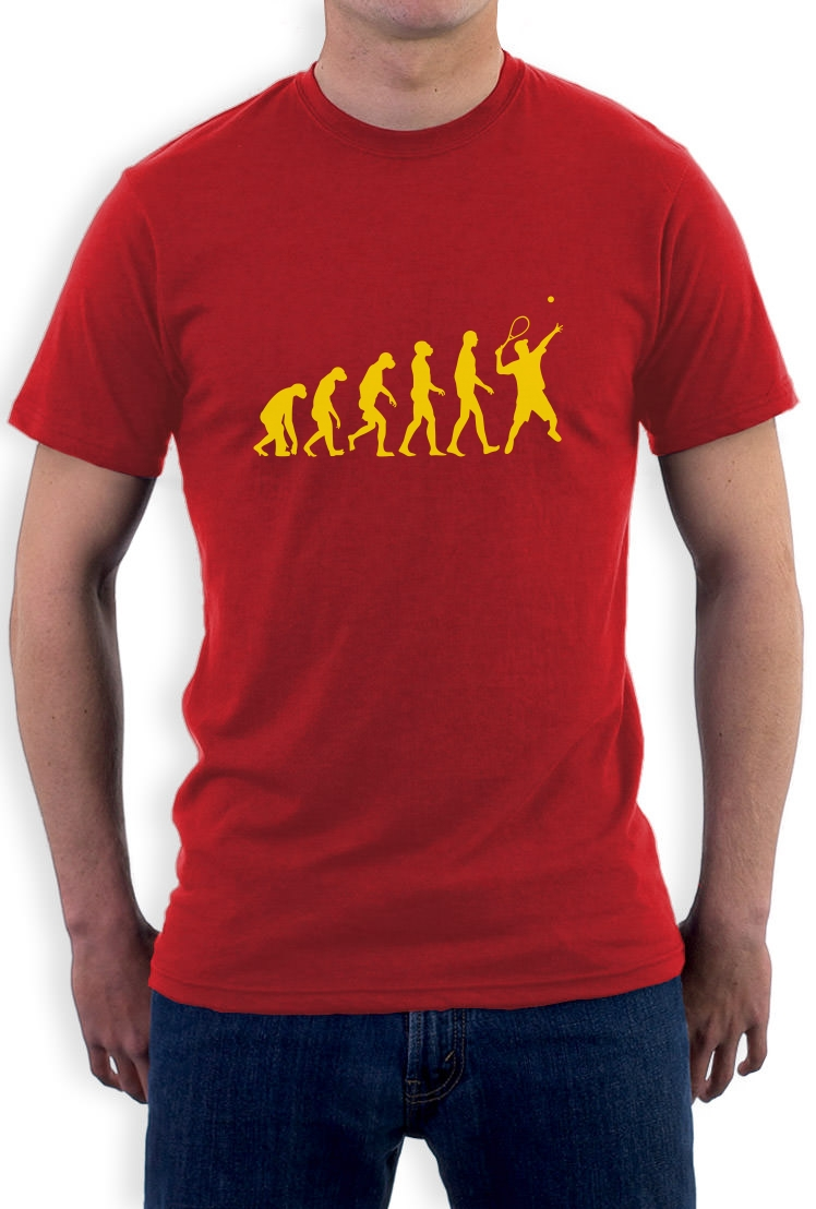 evolution of tennis t shirt sports darwin cool funny ape crewneck tee crew top ebay. Black Bedroom Furniture Sets. Home Design Ideas