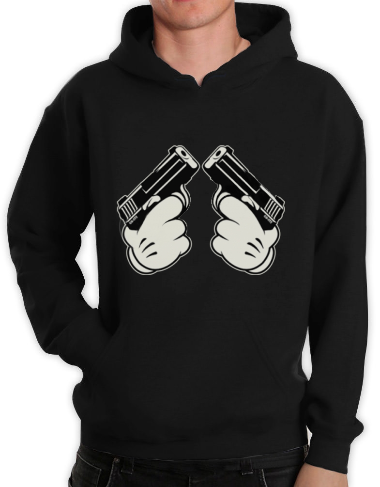 MICKEY GUN HANDS Hoodie Hip Hop Most Dope Gang Fresh Cali ...