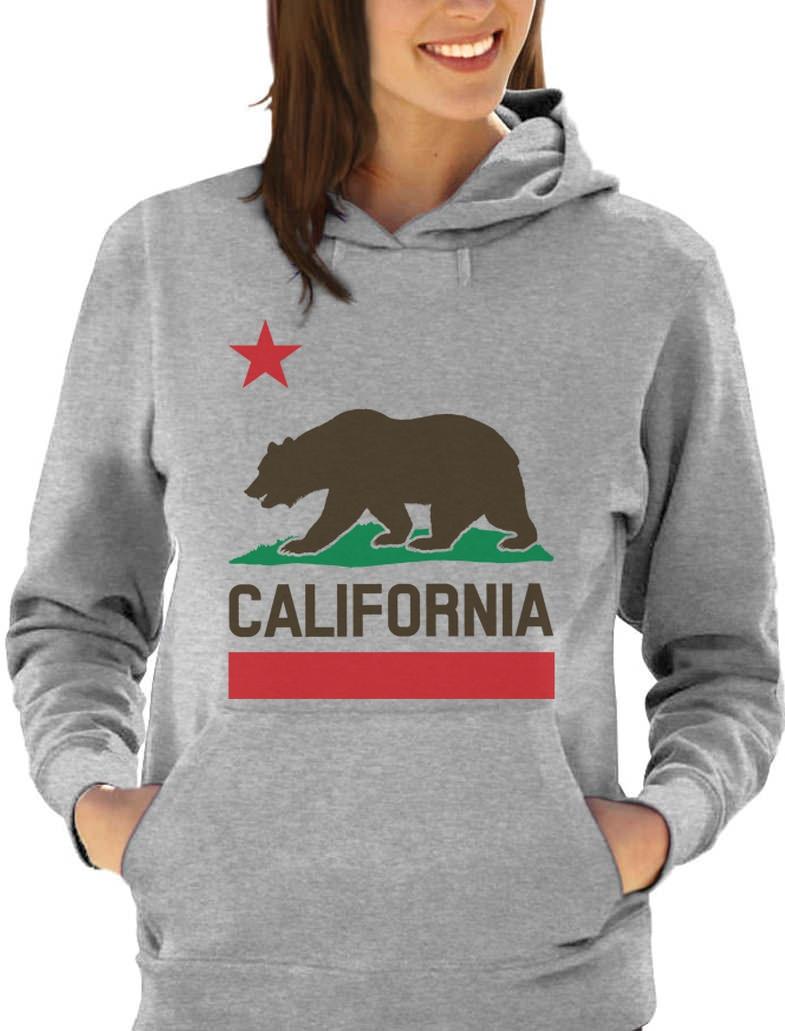 California Republic Bear State Flag Top Plush 3D Print  Women Hoodie West Coast