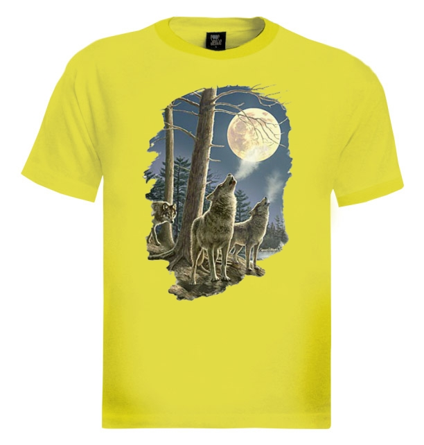 Wolf Pack T Shirt Howling Wolves Moon Night Dark Cold Silver White