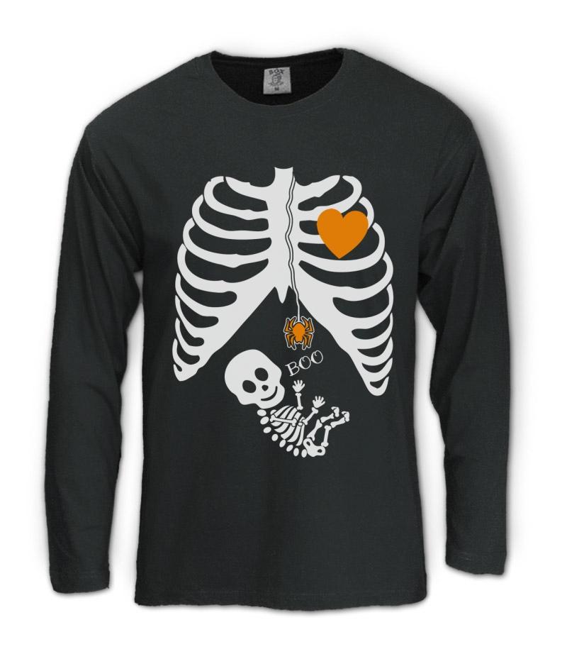 Pregnant Skeleton Halloween Costume Long Sleeve T Shirt Boy Girl Baby Maternity Ebay