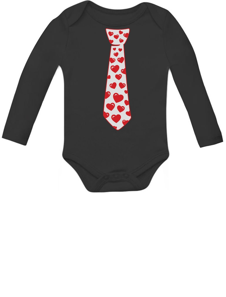 Red Hearts Tie Love Valentines Day Outfit Cute Infant Baby Long Sleeve Bodysuit