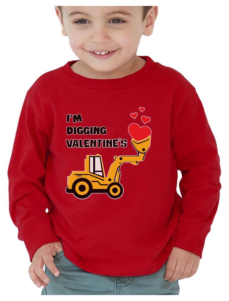 Im Digging Valentines Gift Tractor Loving Boy Toddler Kids Long Sleeve T-Shirt