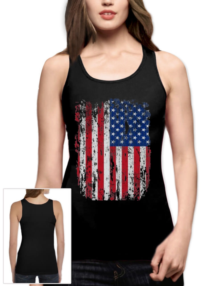 7e6728857d9440 Details about 4th of July American Vintage Flag USA Distressed Tank Top USA  Women Vest