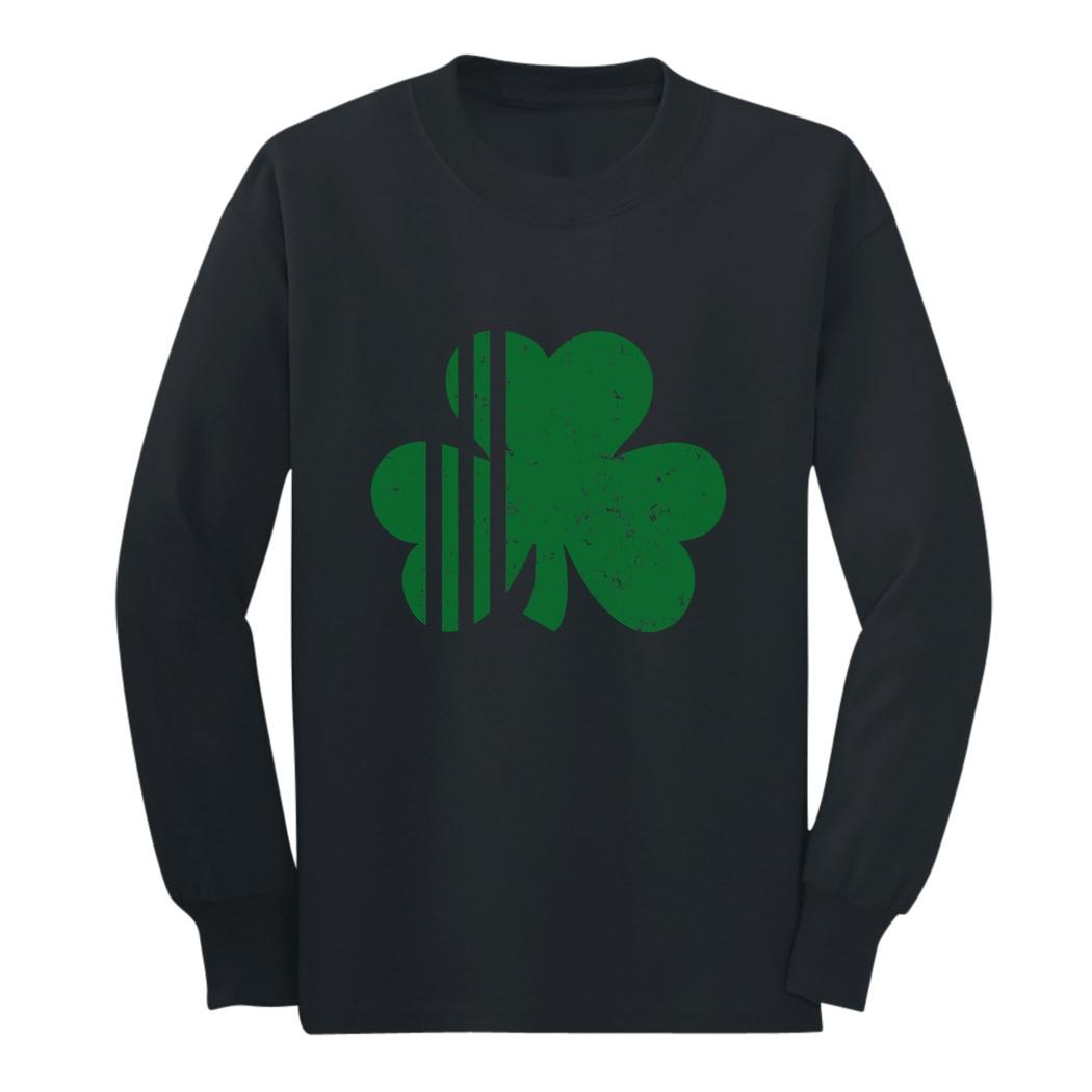 Irish Clover Striped Tie St Patricks Day Youth Kids Long Sleeve T-Shirt