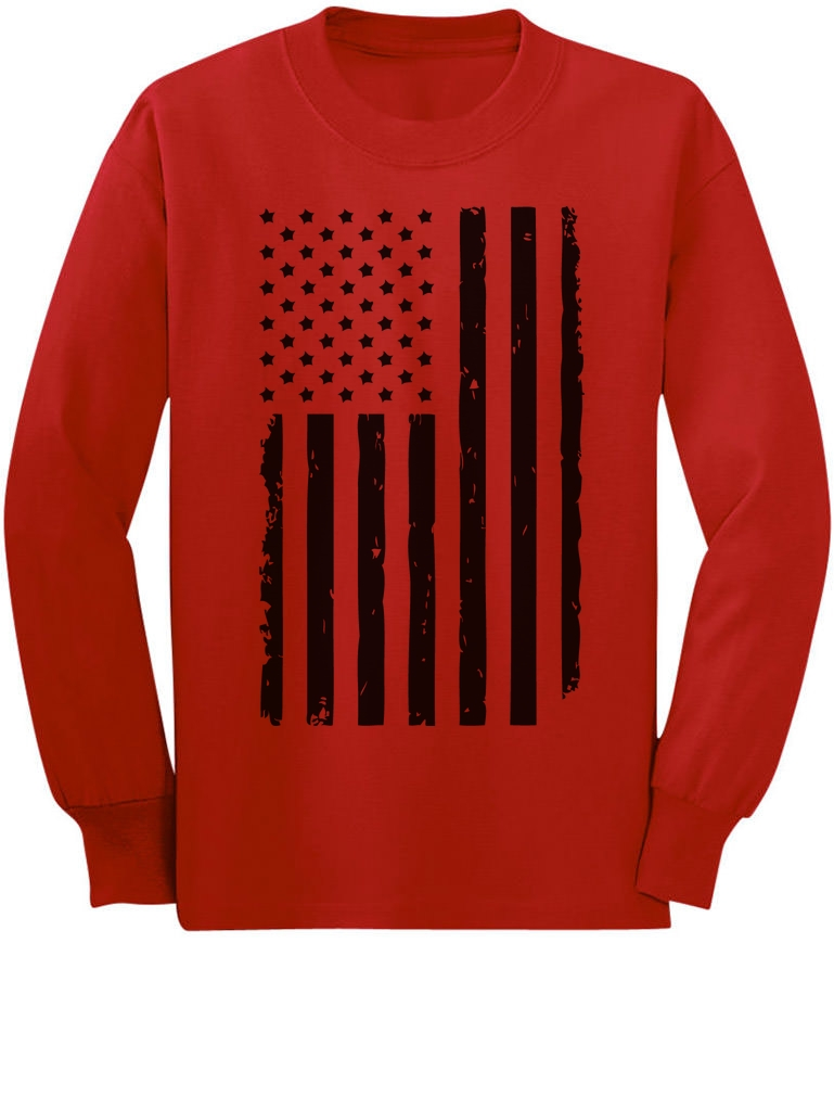 a84207b8a43ef Details about Big Black Distressed U.S Flag 4th of July Youth Kids Long  Sleeve T-Shirt