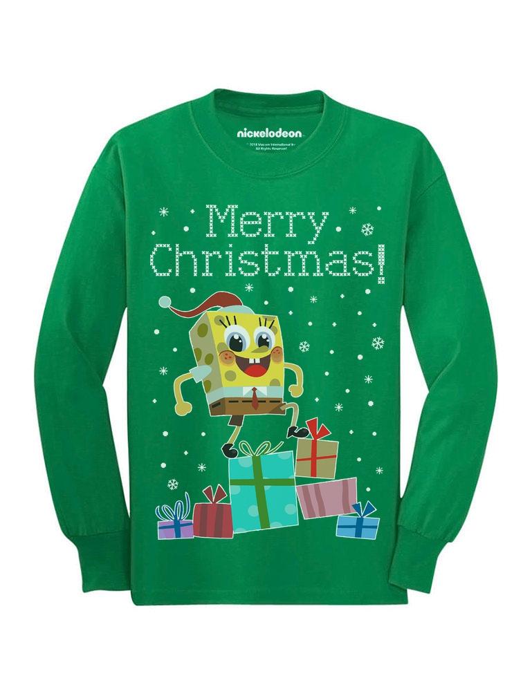 Santa Spongebob On Gifts Ugly Christmas Sweater Youth Kids Long ...