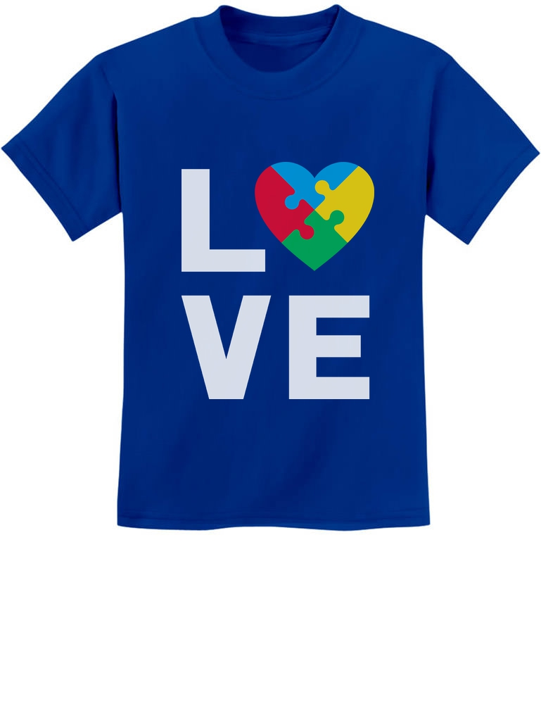 Blue Love Puzzle Piece Youth/'s T-Shirt Autism Awareness Month Shirts