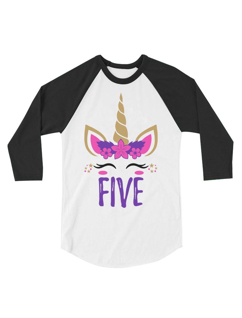 5 Year Old Girl Birthday Gift Unicorn Toddler Raglan 3//4 Sleeve Baseball Tee