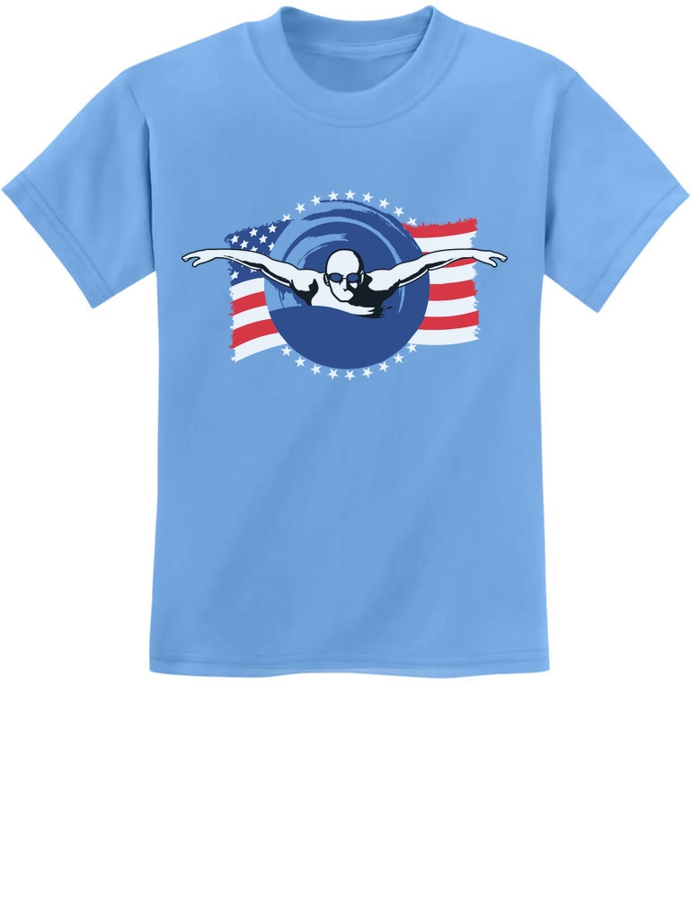 Support USA Swimming Team American Flag Youth Kids Long Sleeve T-Shirt Swimmer