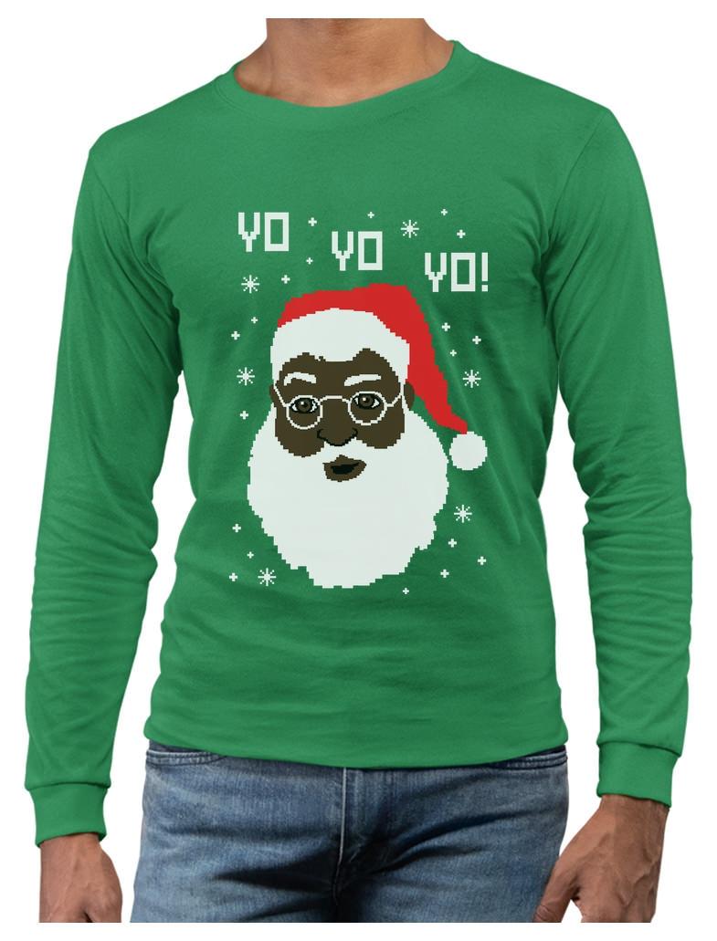 Yo Yo Yo Black Santa Ugly Christmas Sweater Youth Kids Sweatshirt Funny Xmas
