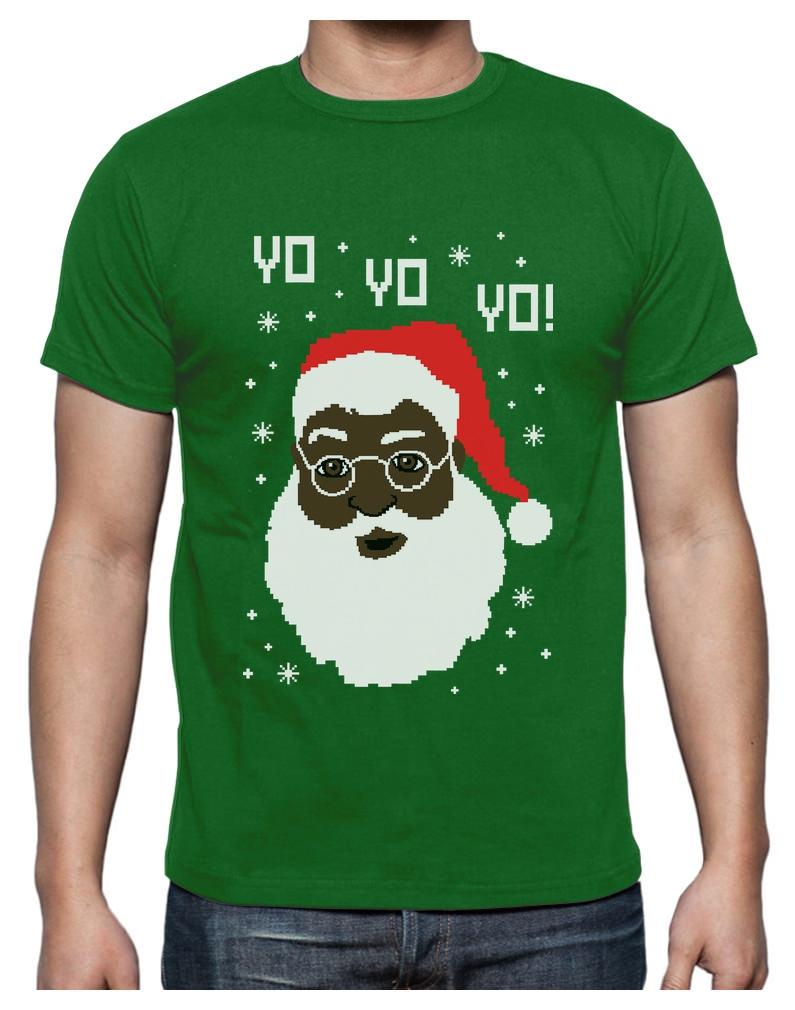 Details about Yo Yo Yo Black Santa Ugly Christmas Sweater T-Shirt Funny Xmas Gift