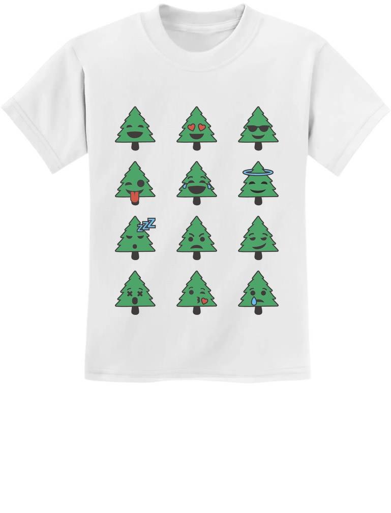 Emoji Christmas Tree Funny Faces Xmas Youth Kids T-Shirt Gift   eBay