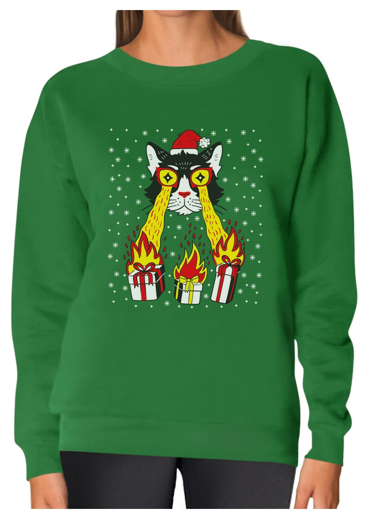 dc53cf4e9505b Holidays Funny Laser Eyes Xmas Cat Ugly Christmas. Women's Sweatshirt. You  are bidding on a fine Sweatshirt, super comfortable and perfect for the  winter!